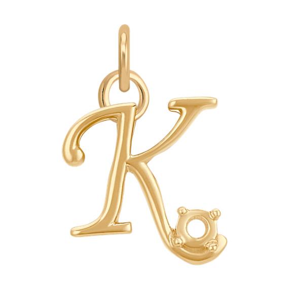 14k Yellow Gold Letter K Charm
