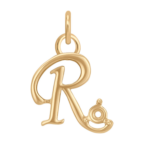 14k Yellow Gold Letter R Charm