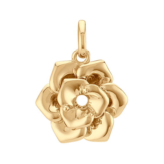 14k Yellow Gold Rose Charm