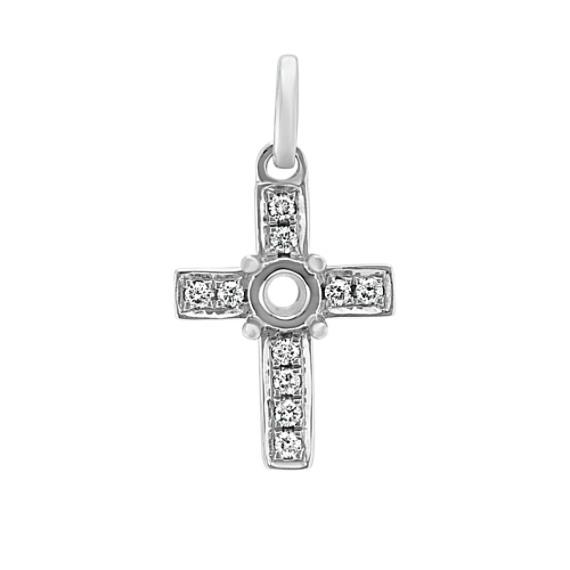 Diamond Cross Charm in 14k White Gold