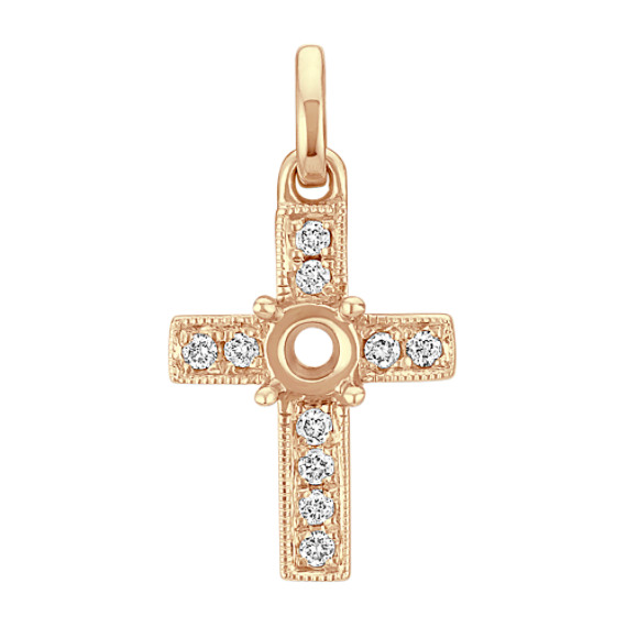 Diamond Cross Charm in 14k Yellow Gold