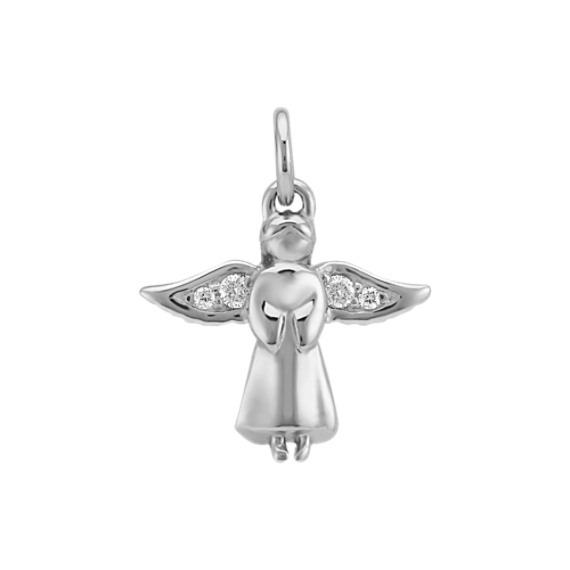 Round Diamond Angel Charm