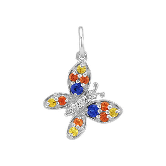 Round Multi-Colored Sapphire and Diamond Butterfly Charm