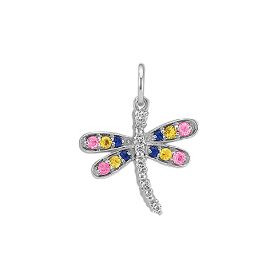Round Multi-Colored Sapphire and Diamond Dragonfly Charm