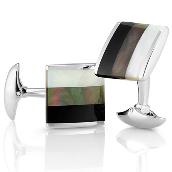 Black Agate and Mother of Pearl Cuff Links in Sterling Silver image