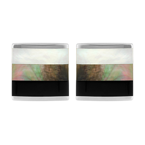 Black Agate and Mother of Pearl Cuff Links in Sterling Silver