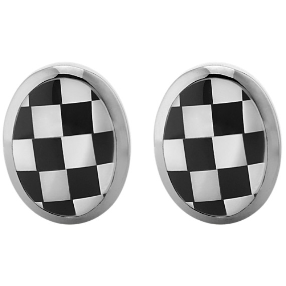 Checkerboard Sterling Silver Oval Cuff Links