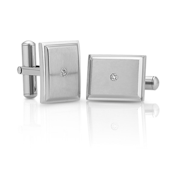 Round Diamond and Stainless Steel Cuff Links image