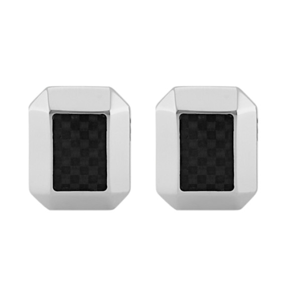 Stainless Steel Cuff Links with Carbon Fiber Accents