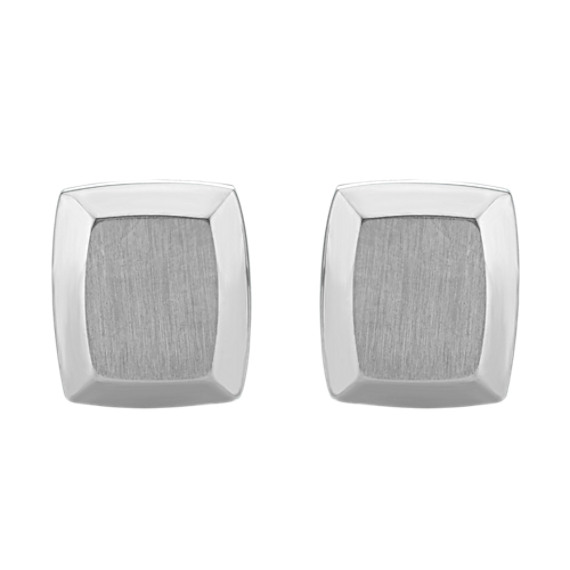 Stainless Steel Cuff Links with Polished and Brushed Finishes