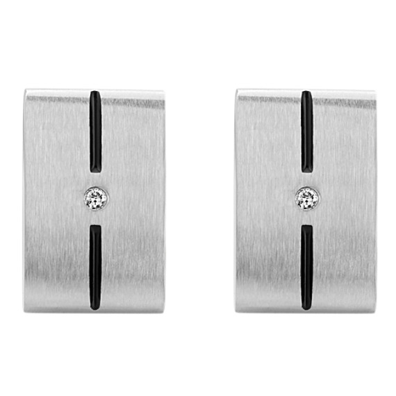 Stainless Steel and Round Diamond Cuff Links with Black Enamel Accent