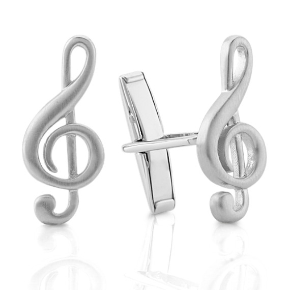 Sterling Silver Treble Clef Cuff Links