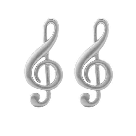 Treble Clef Cuff Links in Sterling Silver