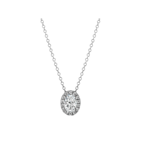 Diamond Oval Halo Pendant in 14k White Gold (22 in)
