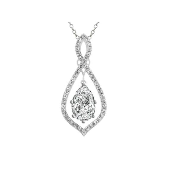Diamond Infinity Pendant for Pear Gemstone (24 in)