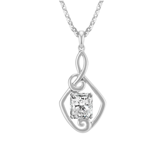 Treble Clef Style Pendant for Radiant Cut Gemstone (22 in.)