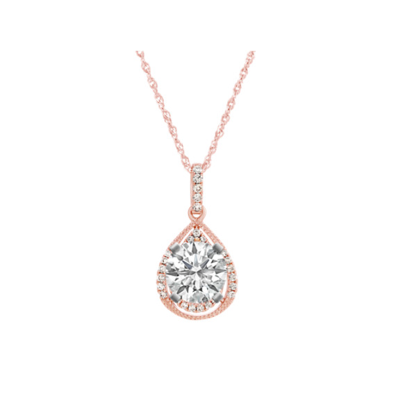 Vintage Diamond Pendant in 14k Rose Gold (20 in)