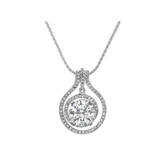 Diamond Swirl Pendant for Round Gemstone (22 in.)