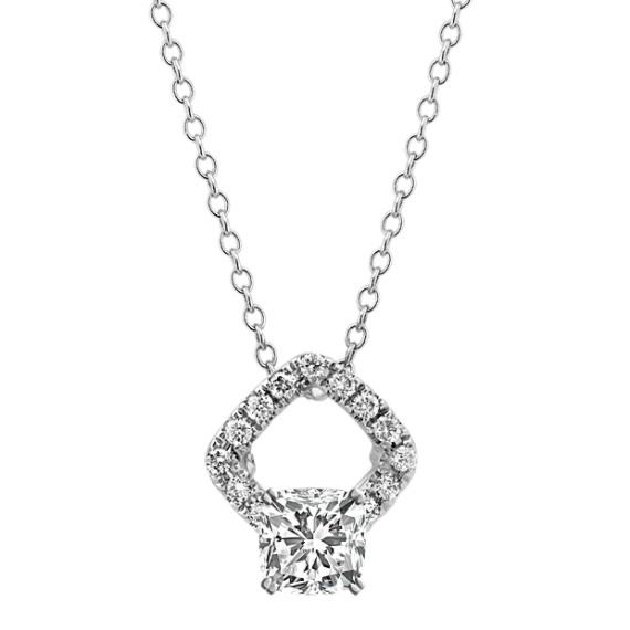 Diamond Halo Pendant in 14k White Gold (22 in.)