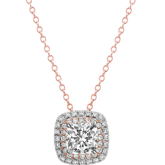 Diamond Pendant in 14k White and Rose Gold (22 in.)
