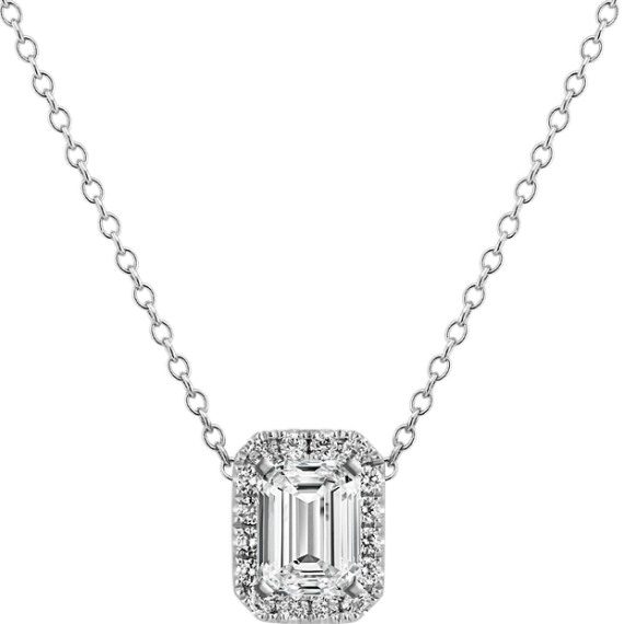 Diamond Pendant for Emerald-Shaped Gemstone (22 in.)