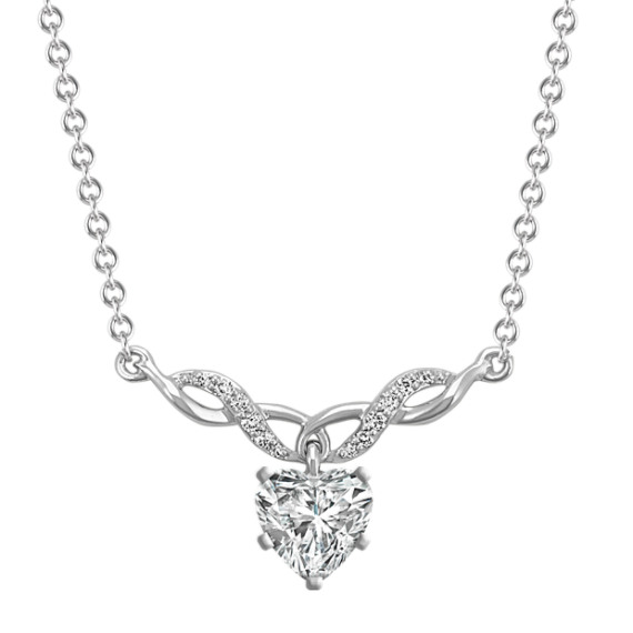 Diamond Swirl Necklace for Heart-Shaped Gemstone in 14k White Gold (18 in)