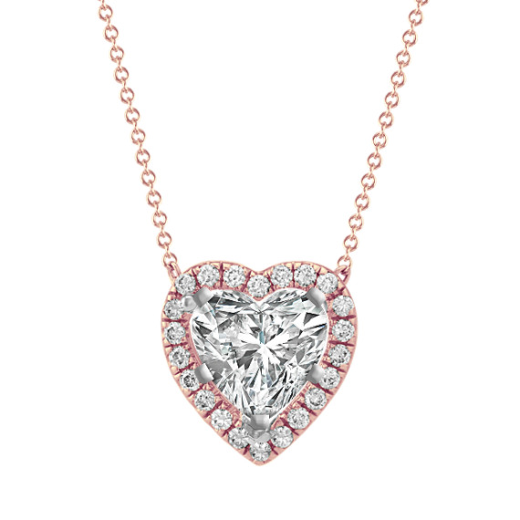 Diamond Pendant of Heart-Shaped Gemstone (22 in)