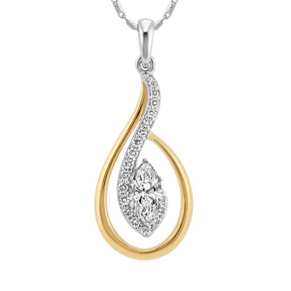 Round Diamond Pendant for Marquise Gemstone (22 in)