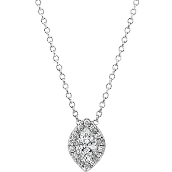 Diamond Halo Pendant for Marquise Gemstone (22 in.)