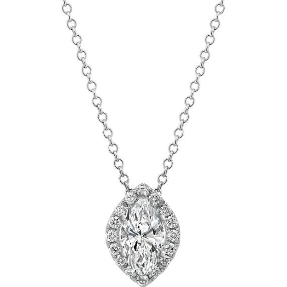 Diamond Marquise Halo Pendant (22 in)