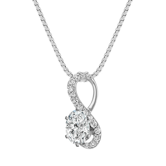 Swirl Figure-Eight Diamond Pendant for Oval Gemstone (22 in)