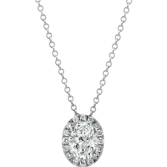 Diamond Halo Pendant for Oval Gemstone (22 in)