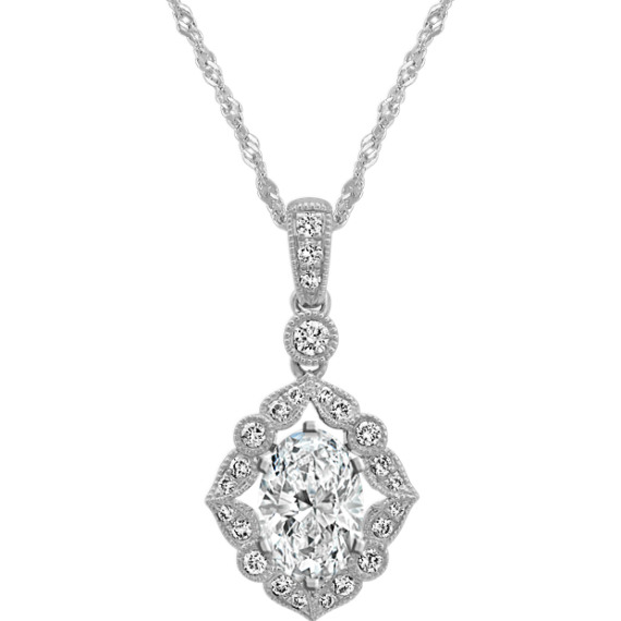 Vintage Diamond Pendant for Oval Gemstone (20 in)