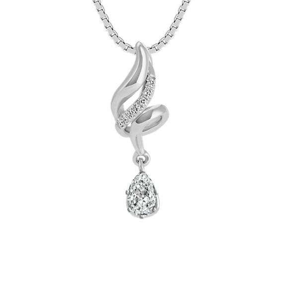 Round Diamond Swirl Pendant (18 in)