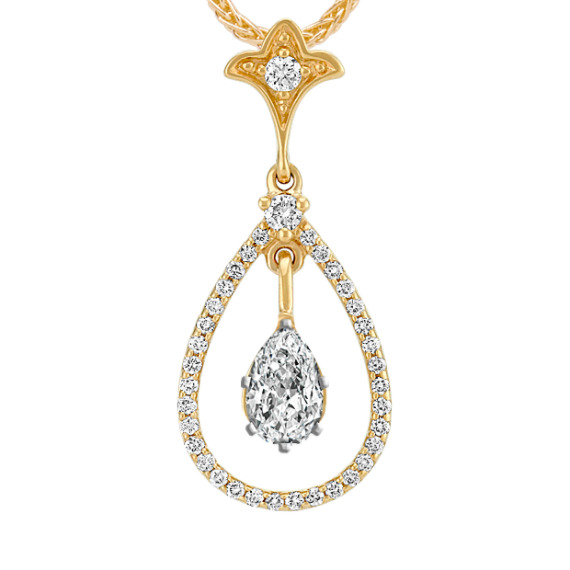 Teardrop Diamond Pendant for Pear-Shaped Gemstone (22 in)