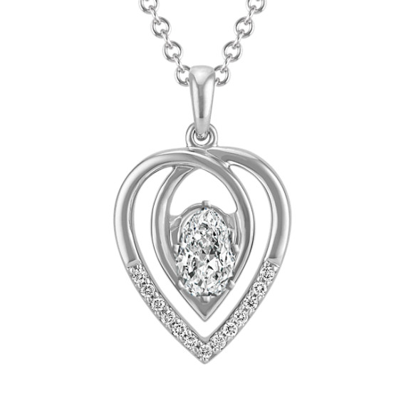 Swirl Pendant with Diamond Accent for Pear-Shaped Gemstone (22 in)