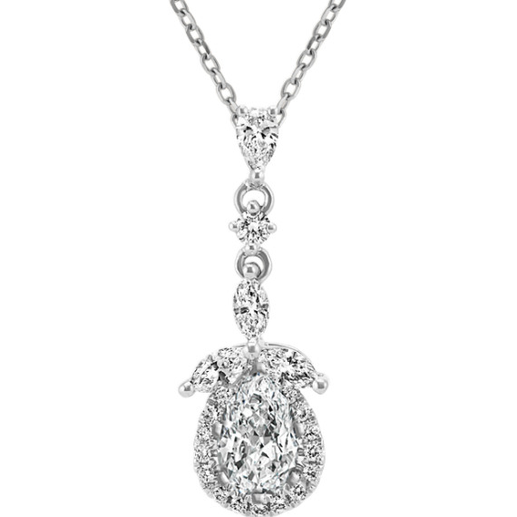 Diamond Pendant in 14k White Gold (22 in)