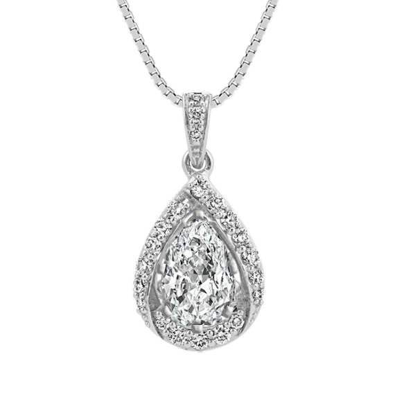 Pear-Shaped Round Diamond Halo Pendant (18 in)