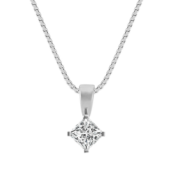 14k White Gold Pendant for .50 ct. Princess Cut Gemstone (18 in)