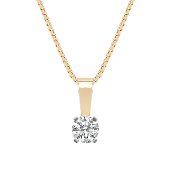 14k Yellow Gold Pendant with Round Basket to hold .25 ct. (18 in)