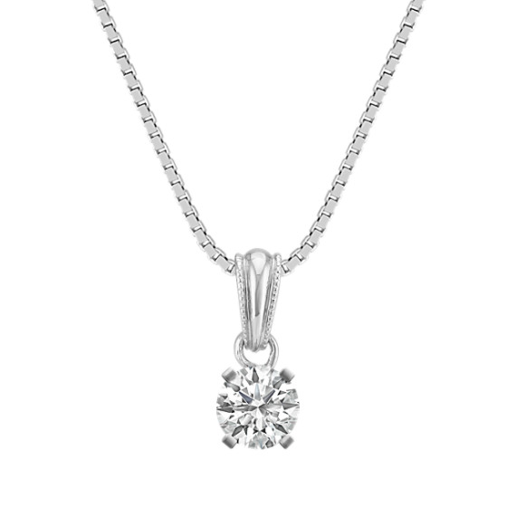 14k White Gold Pendant with Round Basket to hold .25 ct. (18 in)