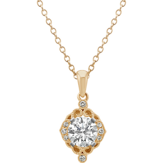 Vintage Diamond Pendant in 14k Yellow Gold (22 in)