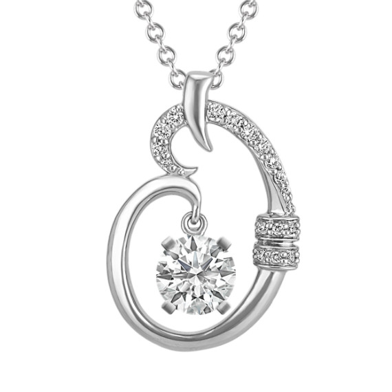 Diamond Pendant with Pave-Setting for Round Gemstone (22 in)