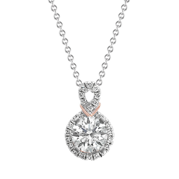 Diamond Swirl Halo Pendant (22 in)
