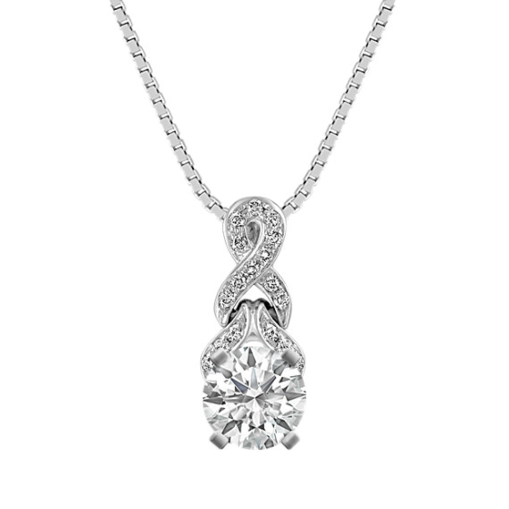Round Diamond Twist Pendant in 14k White Gold (18 in)