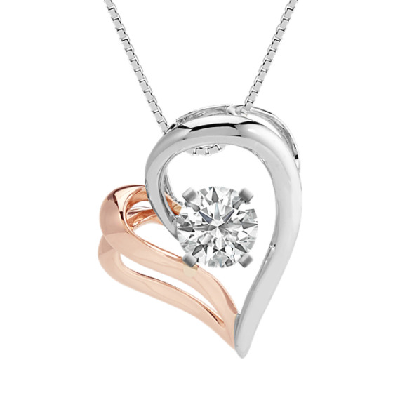 14k white and rose gold heart pendant 18 in shane co 14k white and rose gold heart pendant 18 in mozeypictures Image collections