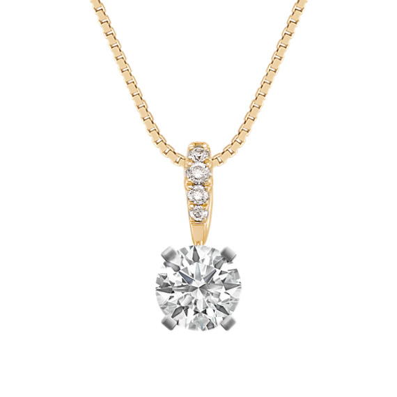 Round Diamond Pendant in 14k Yellow Gold (18 in)