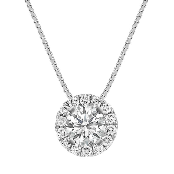 Round Diamond Halo Pendant with Pave-Setting (18 in)