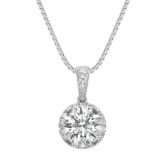 Round Diamond Halo Pendant (18 in)