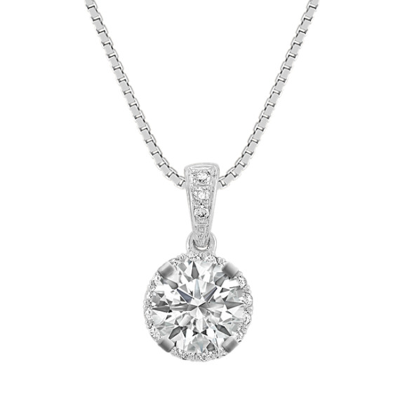 Halo Diamond Pendant (18 in)